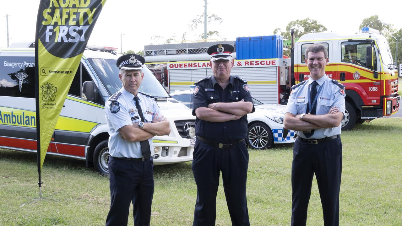Road Safety Media Conference on Friday, from left; Police Acting Inspector Regan Draheim, QFES Acting Supertindent West Moreton Zone, Ross Mutzelburg and QAS Darling Downs Local Ambulance Network executive manager operations Glen Maule