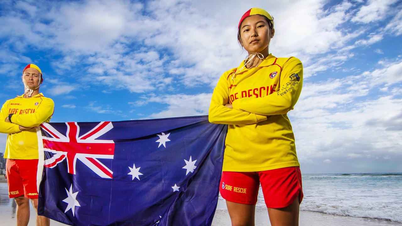 SLSQ issues a warning about the dangers of drunk swimming ahead of the Australia Day holiday. Volunteer surf life savers Brenden Scoffell and Rizu Sawaki. Picture: NIGEL HALLETT