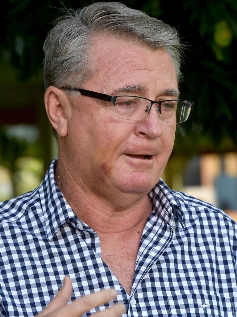 Mundingburra MP Les Walker fronts the media at Soroptimist Park. Picture: Evan Morgan