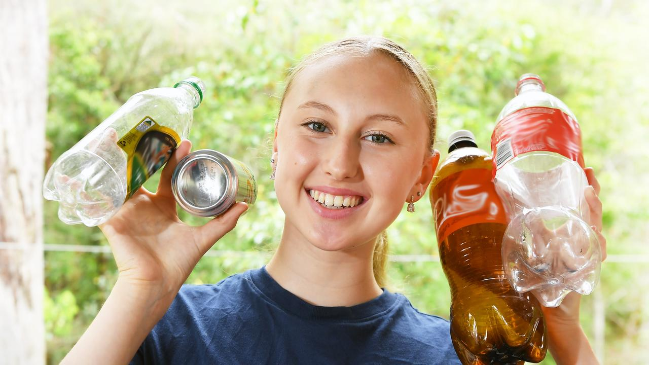 Ballerina Madeleine Powell, 15, is collecting cans and bottles to fund her trip to study dance overseas. Picture: Patrick Woods.