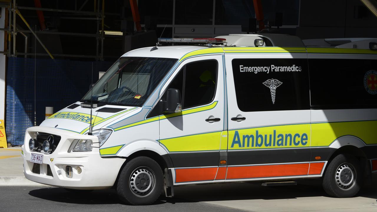 An ambulance at the Emergency Department at Rockhampton hospital in Rockhampton.