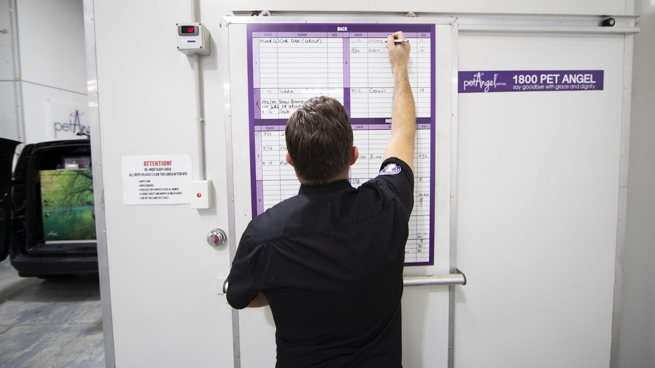 Pet Angel Manager Scott Gunnell writes a pet's name on the door of the mortuary. Picture: NIGEL HALLETT