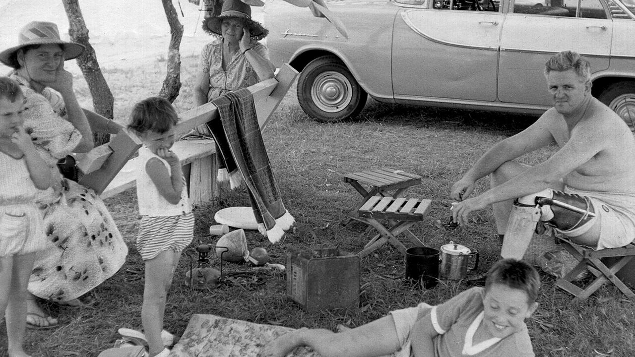 A relaxed Dudley Doherty wearing his wooden leg during a family picnic. Picture: Supplied
