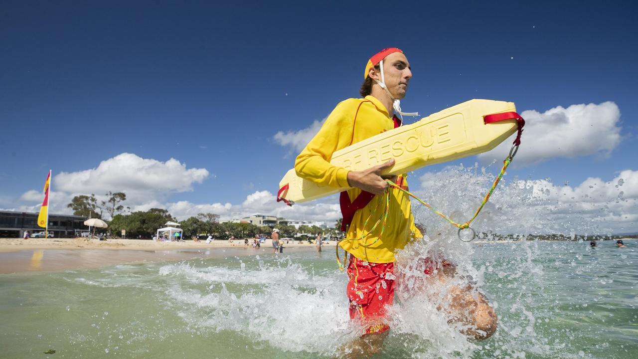 Lifesaver Jayden Morrow in action at Noosa. Photo Lachie Millard