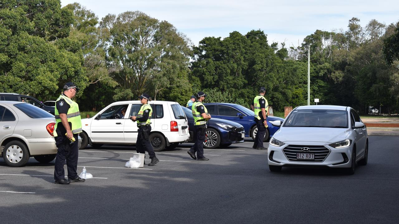 OPERATION SLEDGE HAMMER: Drivers undergo breath testing. Photo: Stuart Fast
