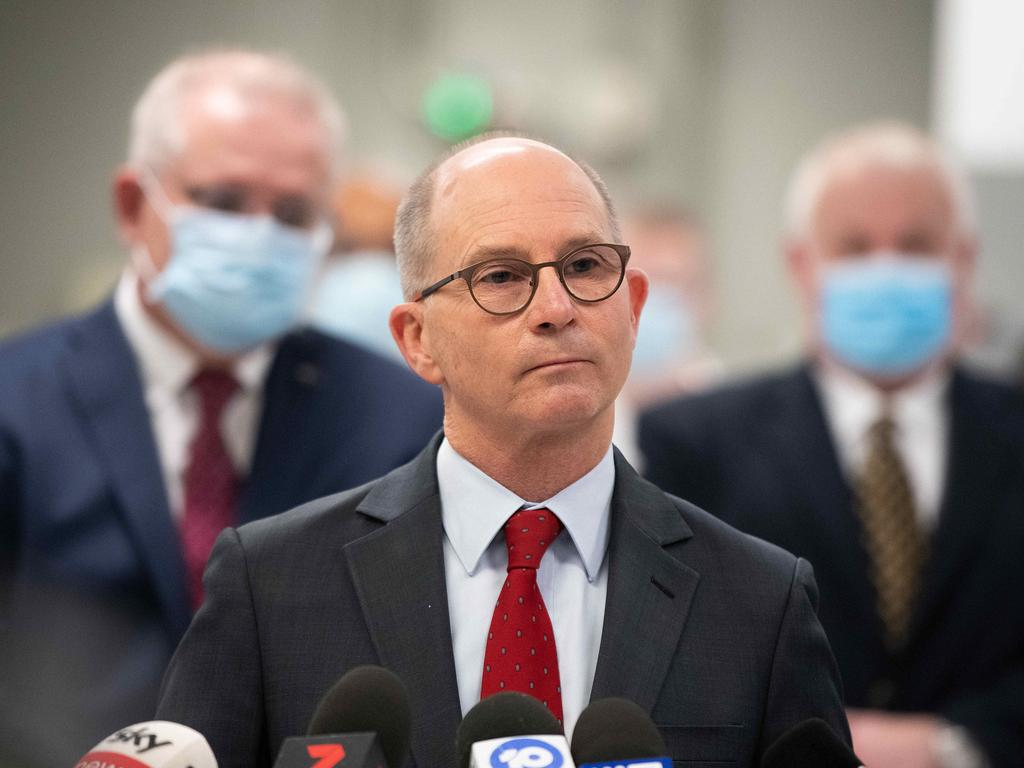 Acting Chief Medical Officer Professor Paul Kelly during a press conference at the AstraZeneca laboratories, in Sydney. Picture: NCA NewsWire/Bianca De Marchi