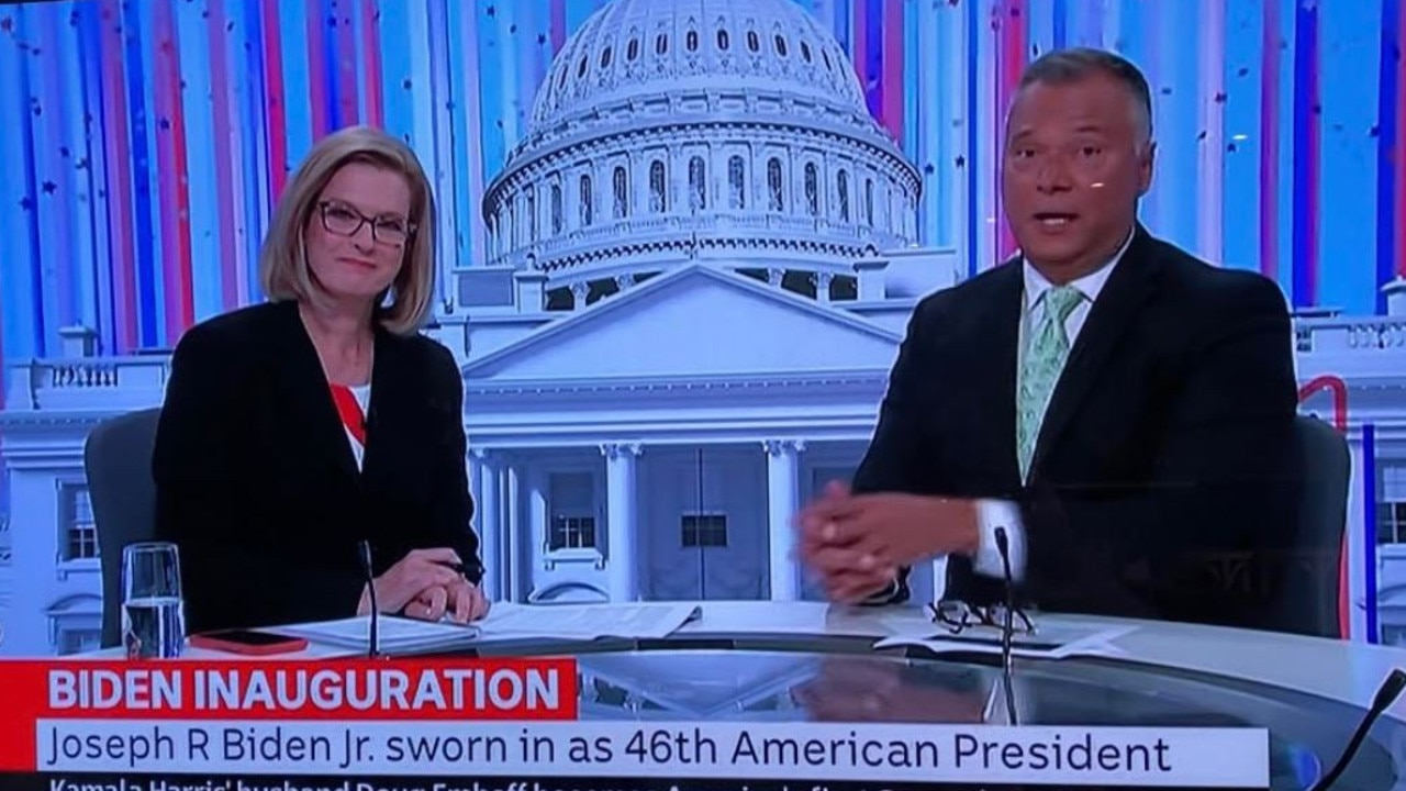 Ellen Fanning and Stan Grant during the coverage of Joe Biden's inauguration.