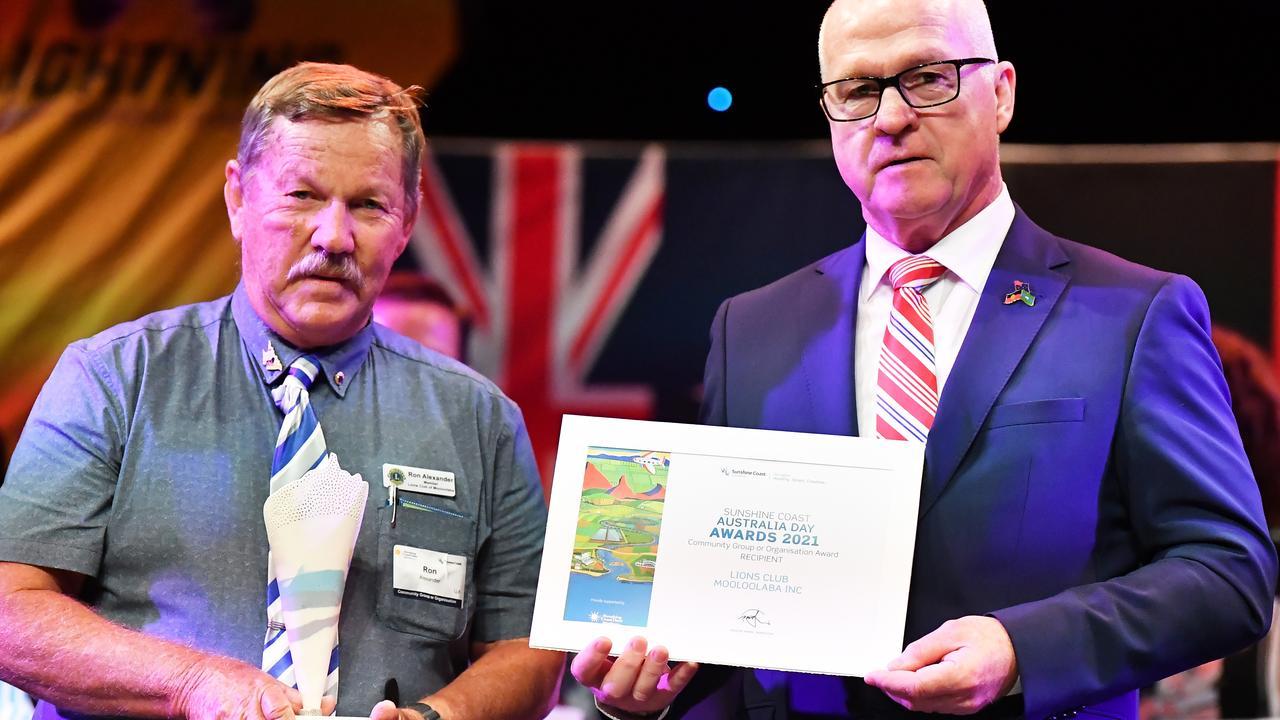 Community group or organisation award, Lions Club Mooloolaba, Ron Alexander. Sunshine Coast Australia Day Awards 2021. Picture: Patrick Woods