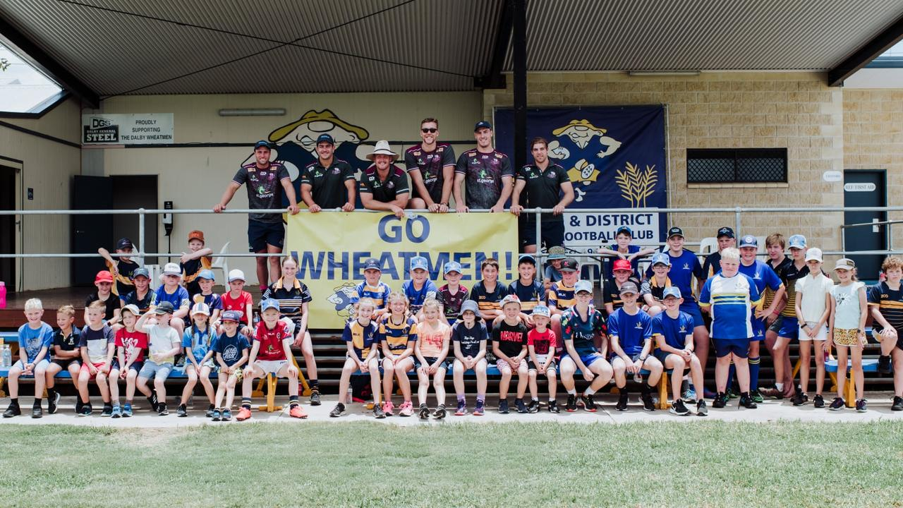 Six Queensland Reds players visited the Dalby and District Rugby Union Football Club on January 22 for the Reds to Regions Junior Clinic. Picture: Dalby and District Rugby Union Football Club