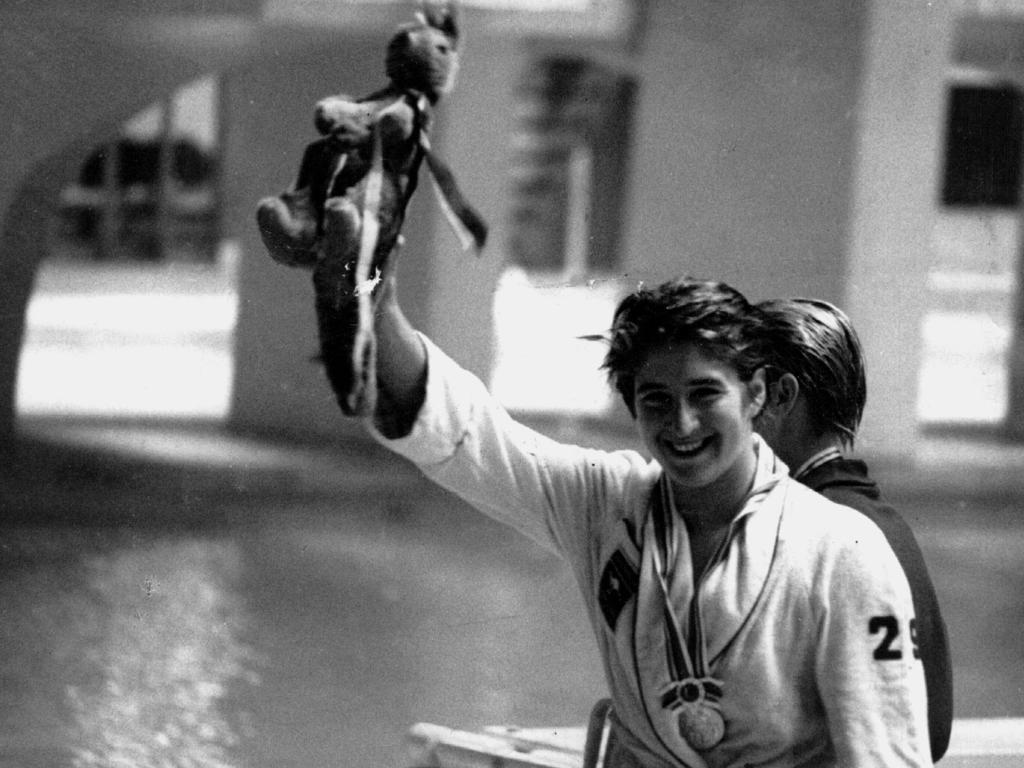 Dawn Fraser after winning the 100m freestyle final at the 1964 Tokyo Olympics.