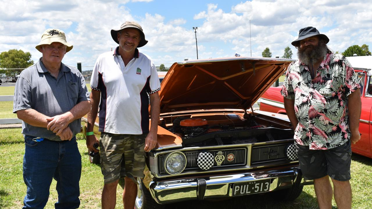 REVVED UP: Graham Kerr, Steve Howard, and Neil Sheppard with one of their favourite makes at the Allora Heritage Weekend. Picture: Jessica Paul