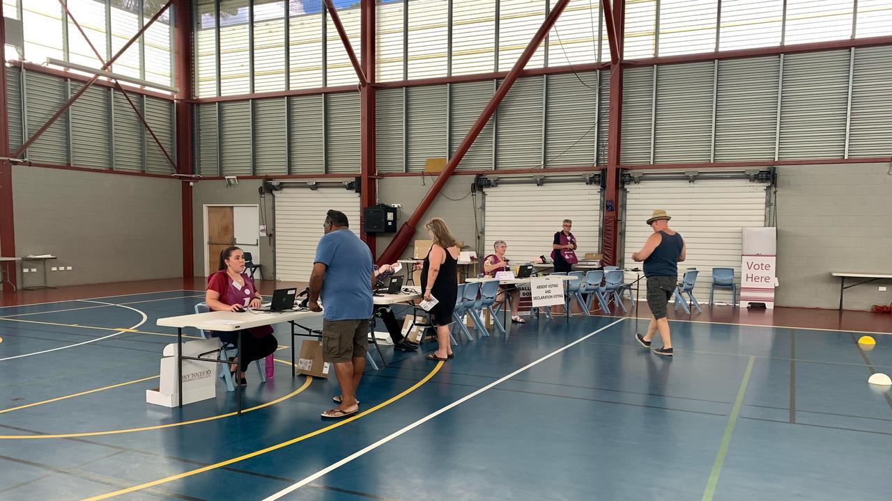 Voting at North Rockhampton State High School.