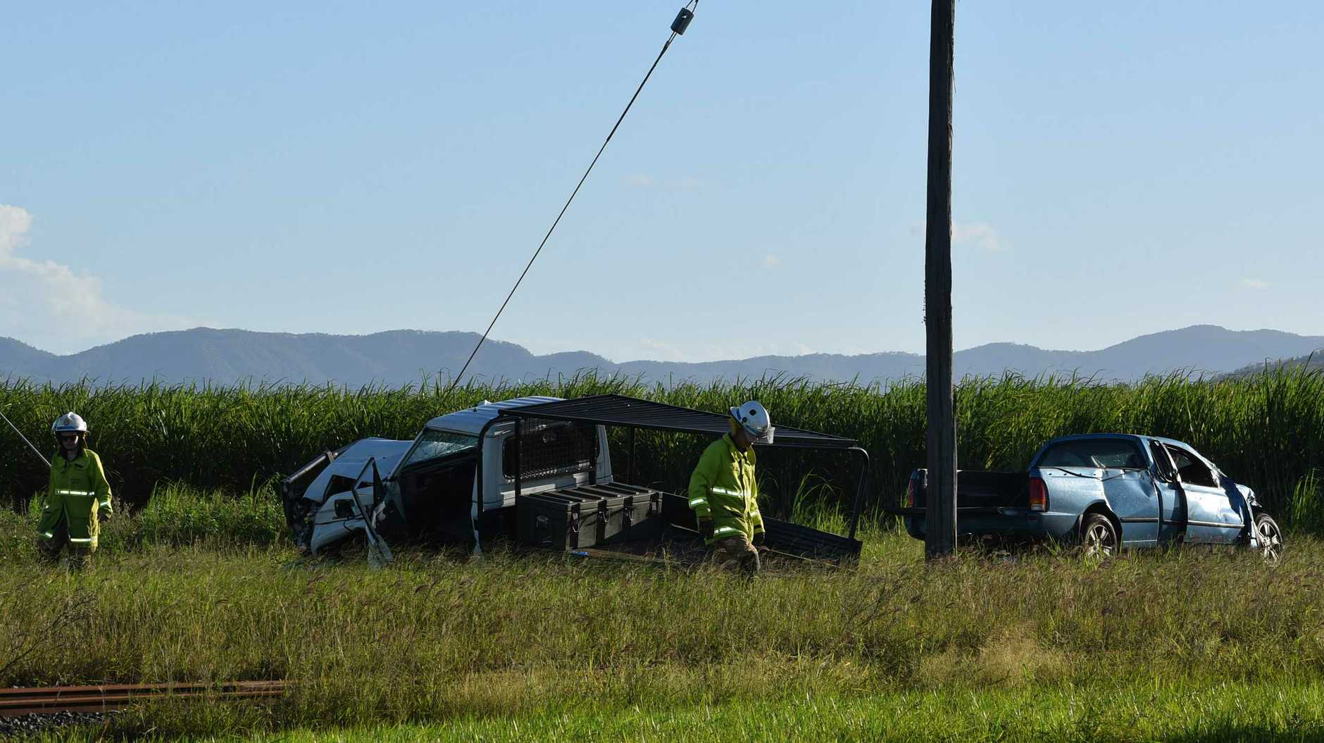 The scene of the crash at the intersection of Stockroute Rd and Walkerston Homebush Rd at Palmyra. Picture: Tara Miko