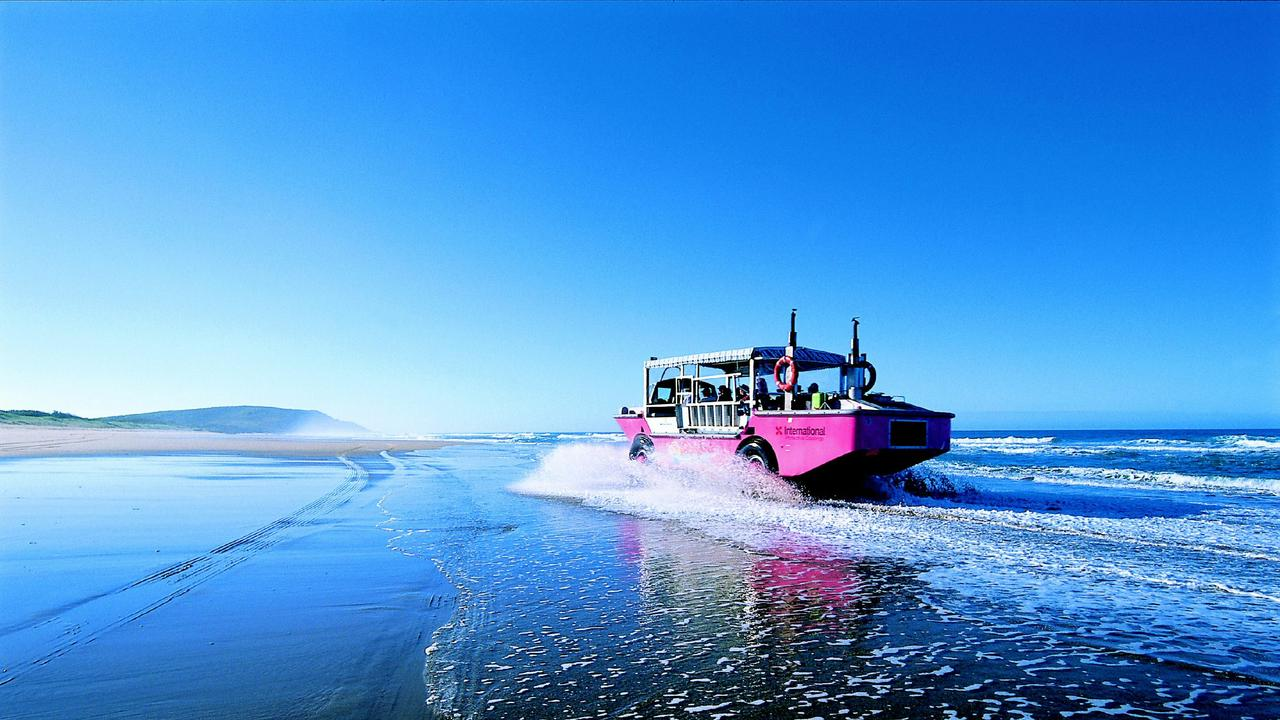 The LARC 1770 Environmental Tours - The amphibious LARC vehicle on sand flats of Bustard Bay out of the town of 1770. Pic: Tourism Qld.