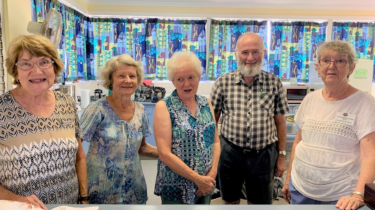 Margaret Warne, Edith Plumb, Faye Fay, David Horton and Rosslyn McKendry at the North Rockhampton Uniting Church.