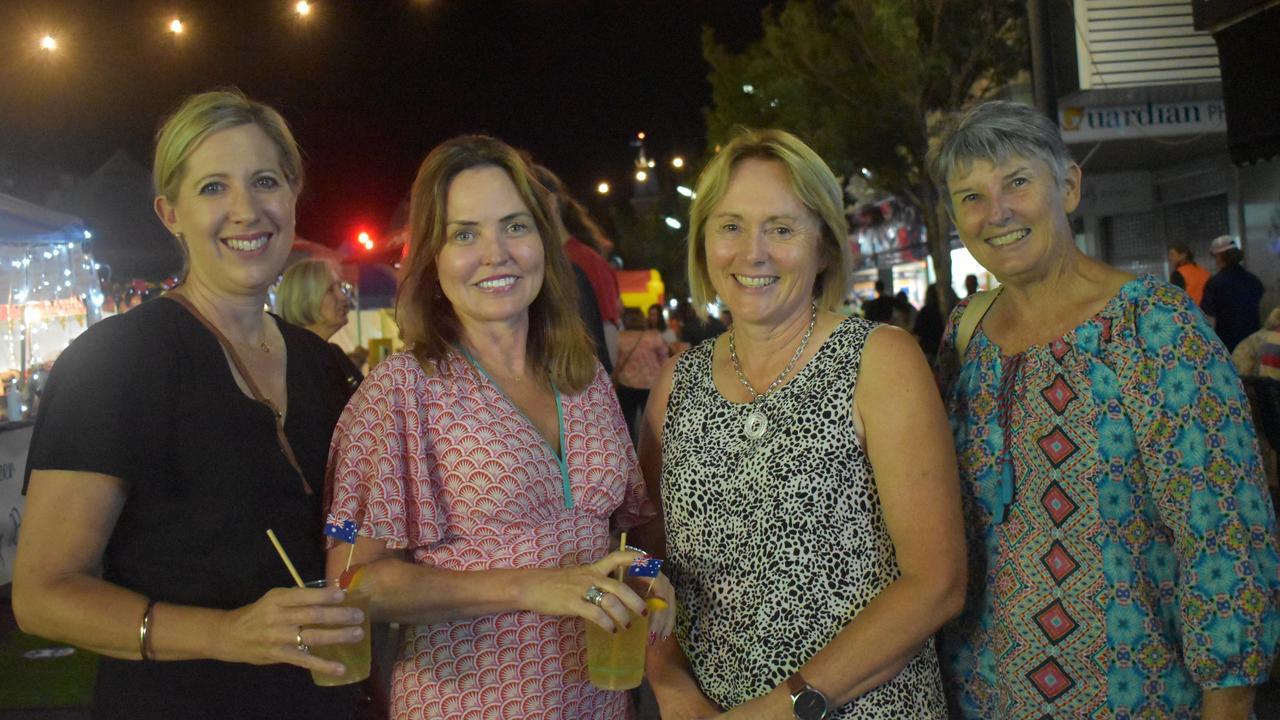 Melanie McLennan, Patricia Stewart, Anne Lyons, and Pauline Free enjoying Great Australian Bites 2021. Picture: Jessica Paul