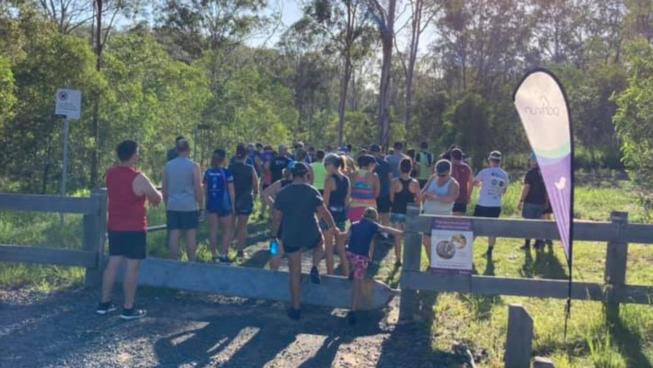 Attendees gather prior to the commencement of a weekly White Rock parkrun.