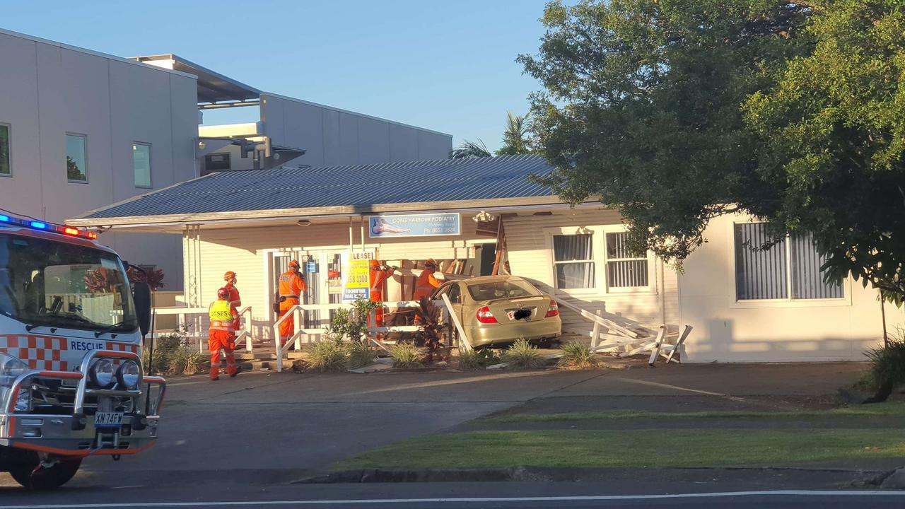 A car smashed into a podiatrist premises in Albany St on Sunday night.