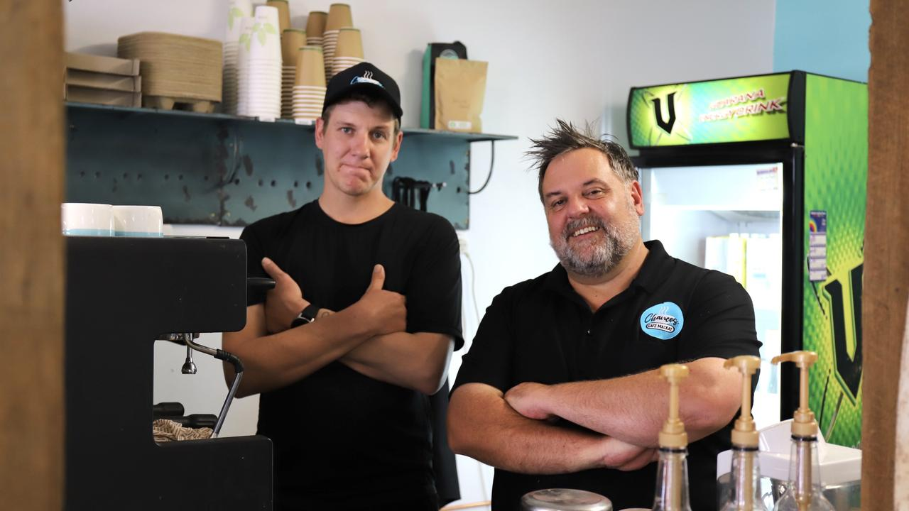 Chances Cafe staff member Tim Koelbel- Mcilwain and manager Paul Gibbs. Picture: Ashley Pillhofer
