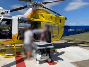 Man airlifted to hospital, hit by car