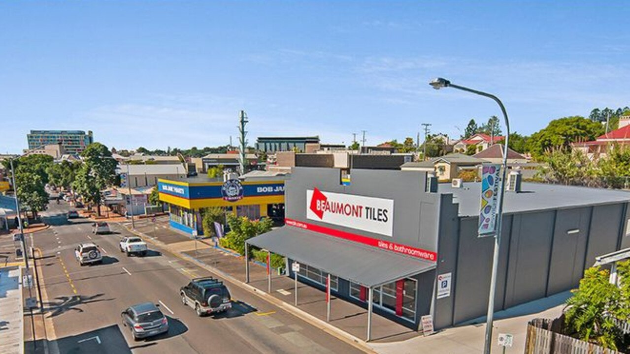 The Beaumont Tiles building at 202 Brisbane St, Ipswich, is for sale as a tenanted investment property.