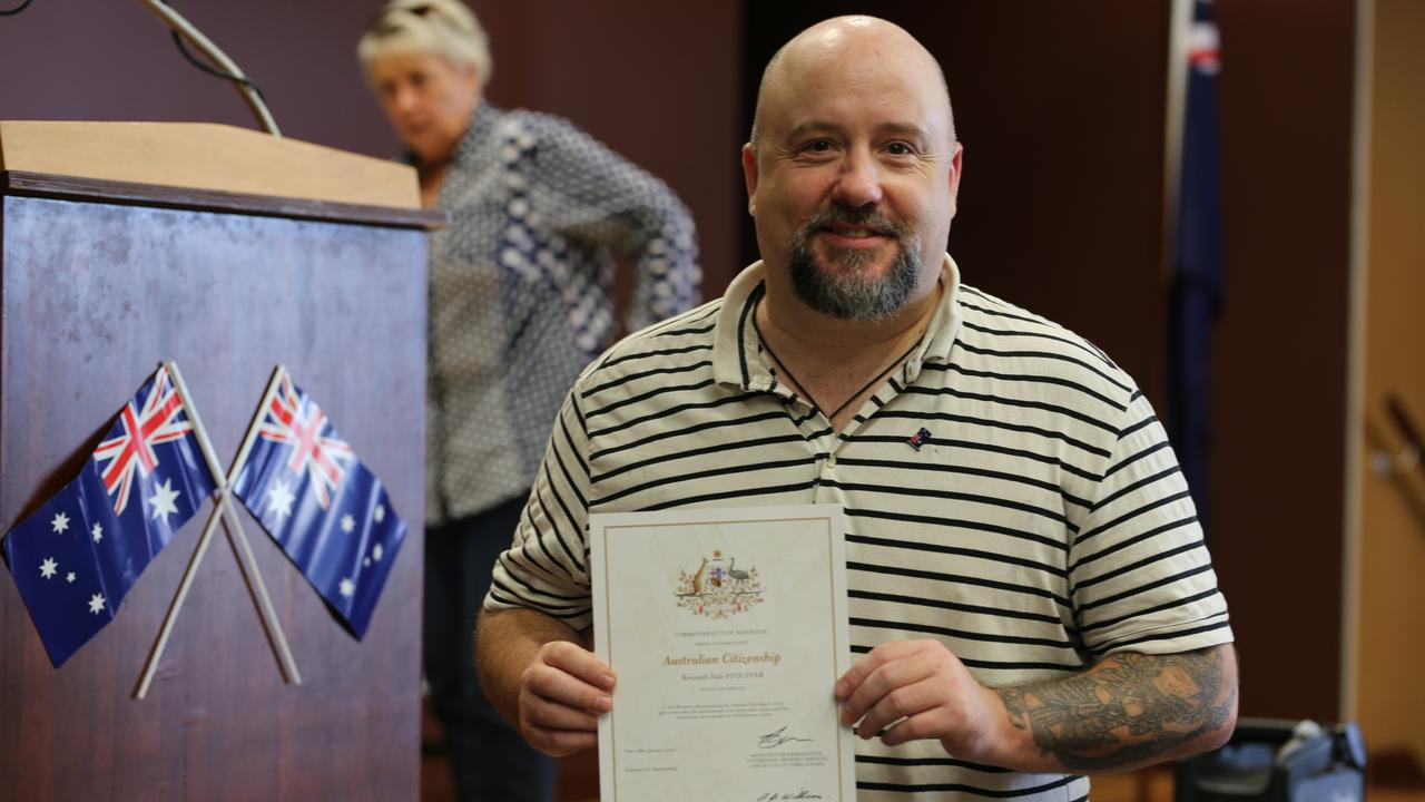 G'DAY: American resident Kenny Stouffer became an Australian citizen in Bowen on Australia Day last year.