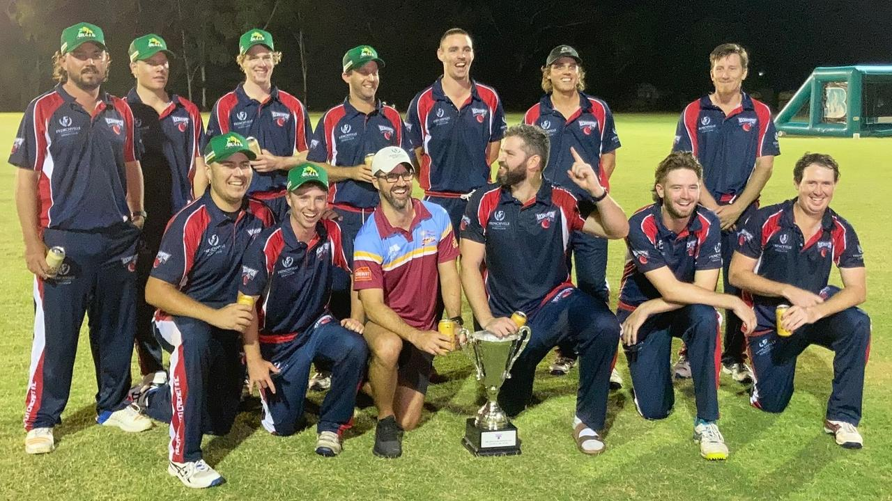 The Southside players celebrate their first win over Northside in the Charity Big Bash at the Rockhampton Cricket Grounds.