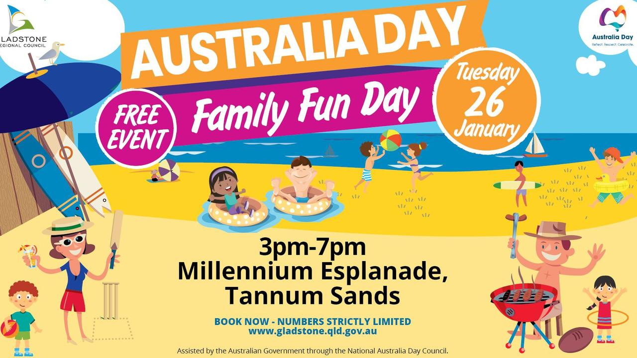 The Gladstone Regional Council's 2021 Australia Day Family Fun Day event poster.