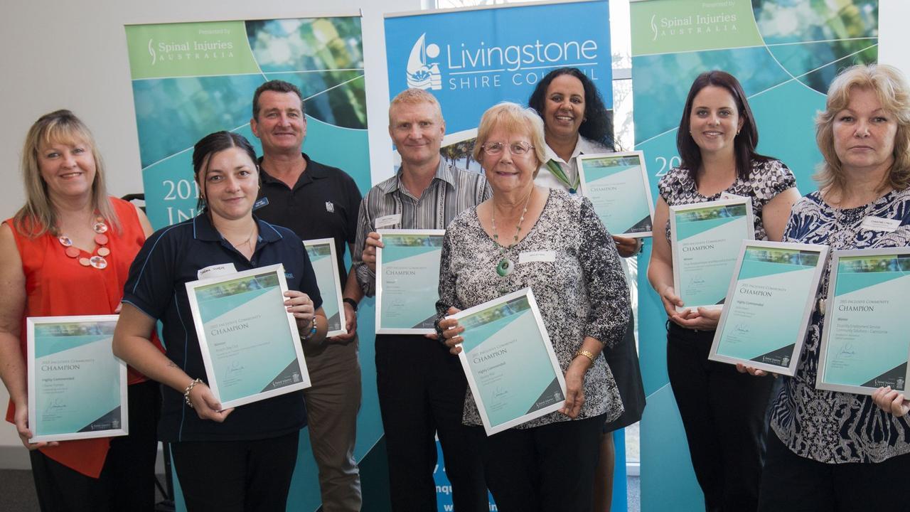 Inclusive Community Champion Awards Cherie Furness, Sarah Owen, Sgt Greg Jones, Ben Cooke, Desley Rial, Christine Lynch (far right). Photo Contributed / The Capricorn Coast Mirror