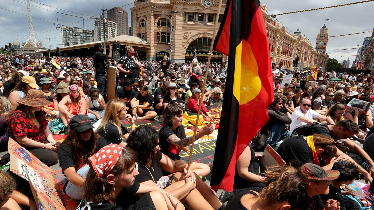 Thousands attended the Invasion Day march in Melbourne last year. Picture: David Geraghty/The Australian.