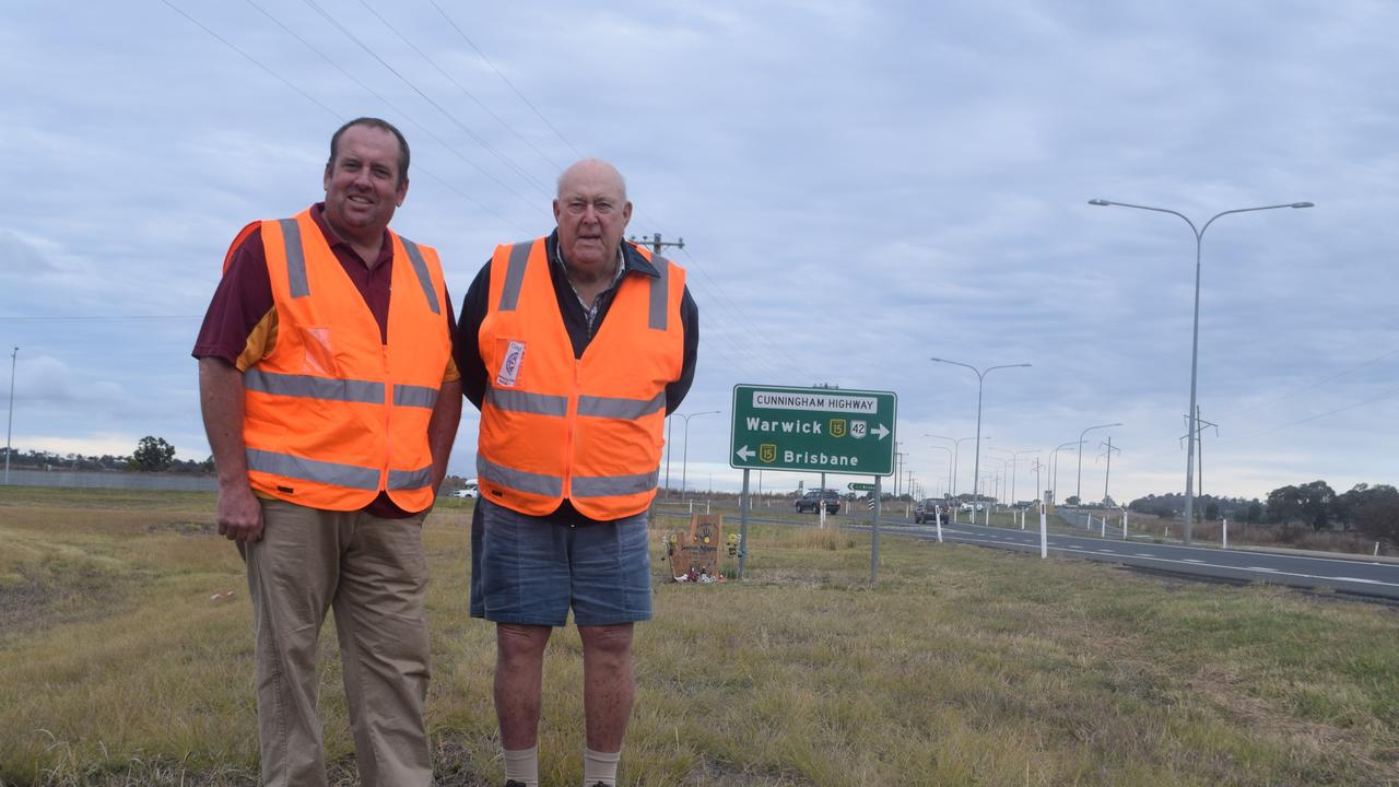 Warwick and District Road Safety Group members Andrew Gale and Graham Buchner back in 2016 as a State Government business case for Eight Mile was in the firs stages. Photo Jayden Brown / Warwick Daily News