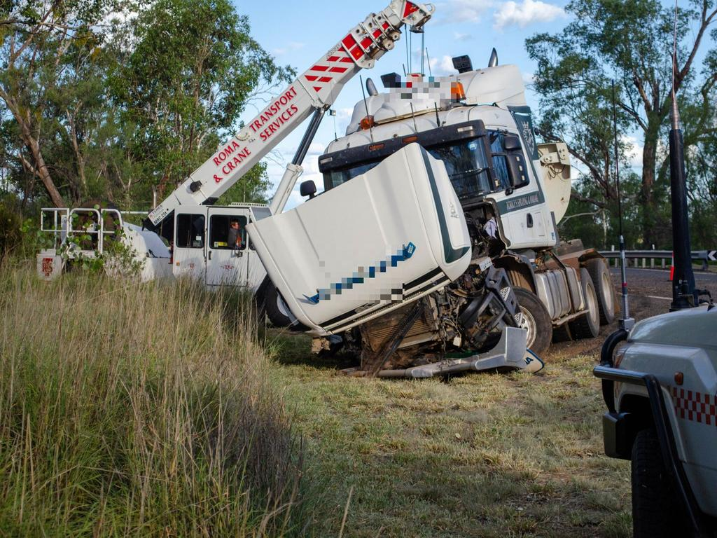 A truck has left the road and completely destroyed a guardrail on the Warrego Highway near Pickanjinnie, west of Wallumbilla. Photo: Lachlan Berlin