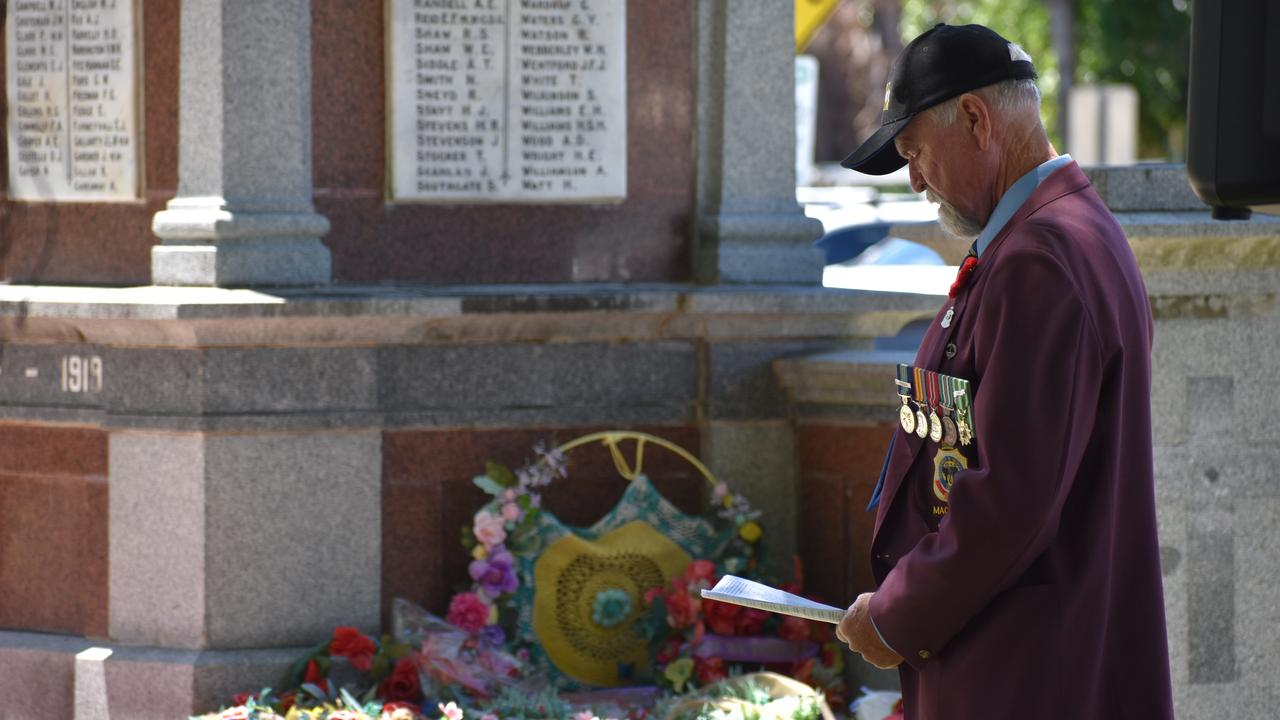 Mackay sub-branch president Ken Higgins at the Mackay Remembrance Day commemorative ceremony at Jubilee Park on Wednesday November 11, 2020. Picture: Zizi Averill