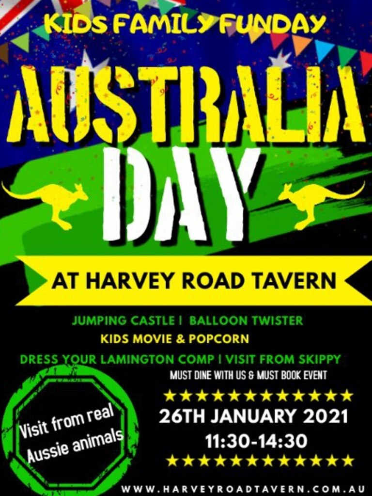 Harvey Road Tavern's Australia Day event poster