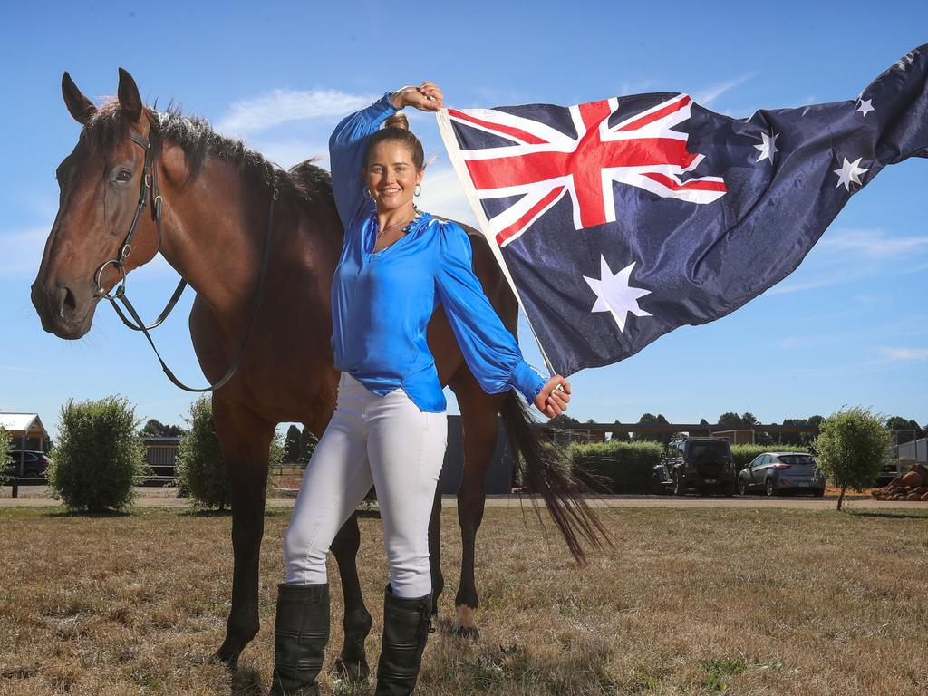 Michelle Payne riding 'Easy Peaceful Feeling' for Australia Day. Picture: Alex Coppel.