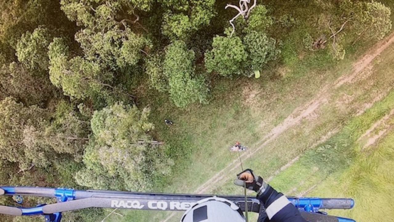 RACQ CQ Rescue was tasked by Queensland Health about 9am Saturday after a rider hit a rut at speed on the rough dirt track near Teemburra Dam, about 66km west of Mackay. Picture: RACQ CQ Rescue
