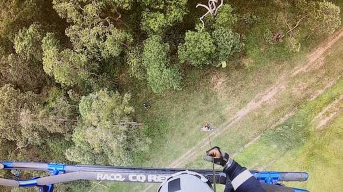 Aerial rescue for injured motorbike rider in popular forest