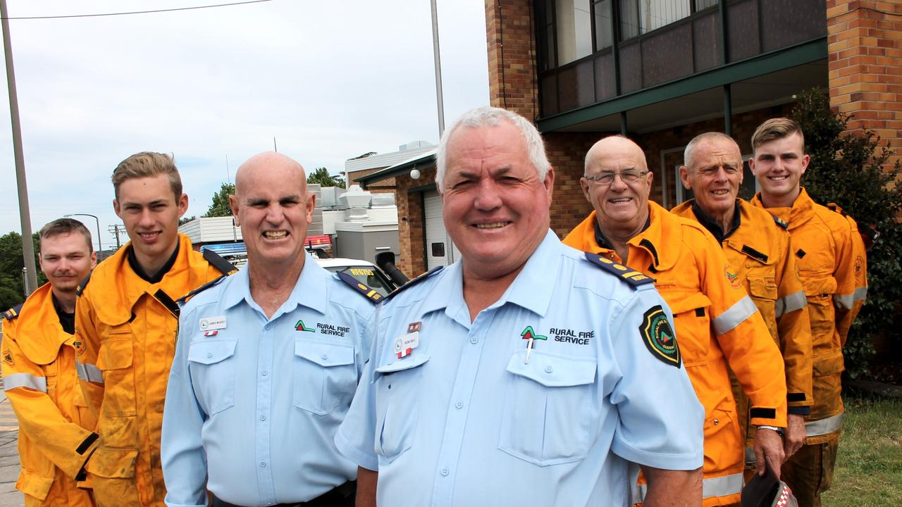LIFESAVER: Applethorpe firefighter Roni Bau (centre) with Zac Connolly, Tom Furness, James Massey, Gary Tutt, Brian Hill and Riley Boston was awarded the prestigious OAM honour.