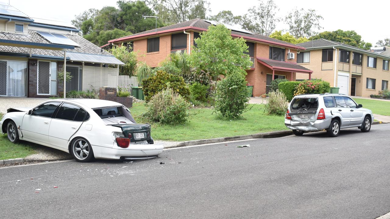 A bus leaves a trail of damage after striking two cars at Bundamba.