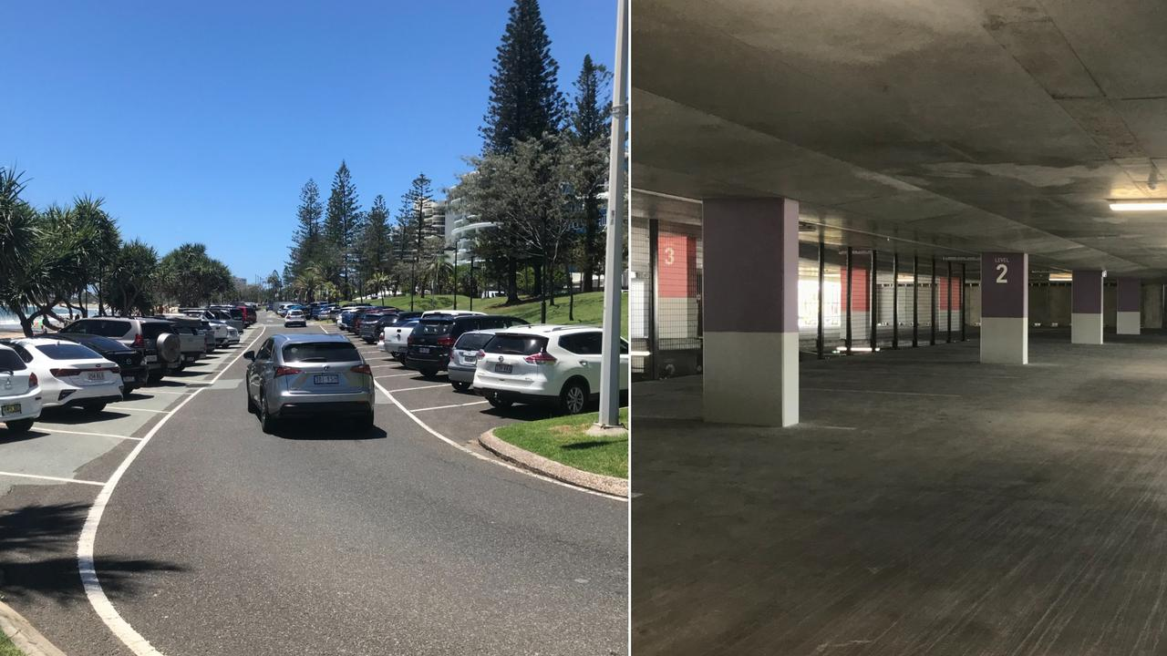 Drivers are circling around Mooloolaba's streets instead of taking up the hundreds of spaces at the $18 million paid parking facility at Brisbane Rd.