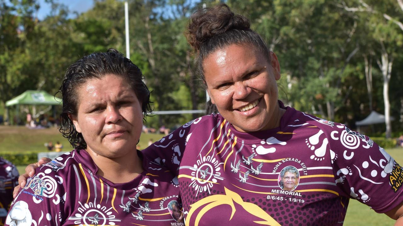 Melanie Kielly (right) with her daughter Jasmine Comollatti, who played in the Mona Barada Kielly Memorial team at the Warba Wangarunya Rugby League Carnival.