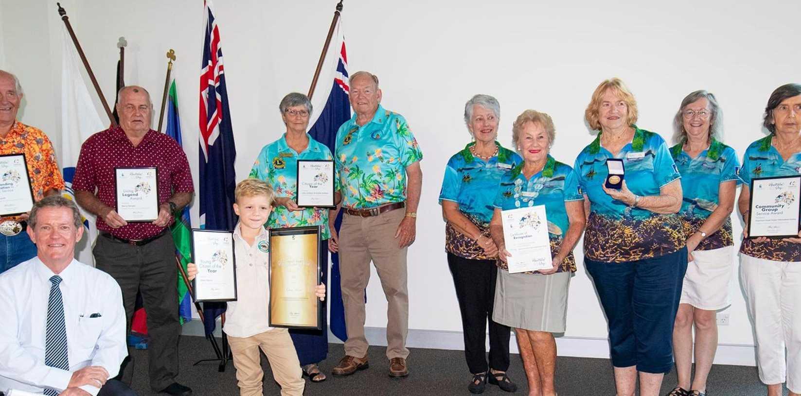 Livingstone Shire mayor Andy Ireland with Australia Day award recipients.