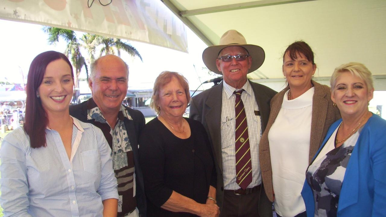 Yeppoon Show opening officials left, Brittany Lauga(Member for Keppel), former Livingstone mayor, Bill Ludwig, show secretary, Desley Rial, president Ken Landsberg, opener, manager of Keppel Bay Sailing Club, Julie Strickand and Michelle Landry (Member for Capricornia).