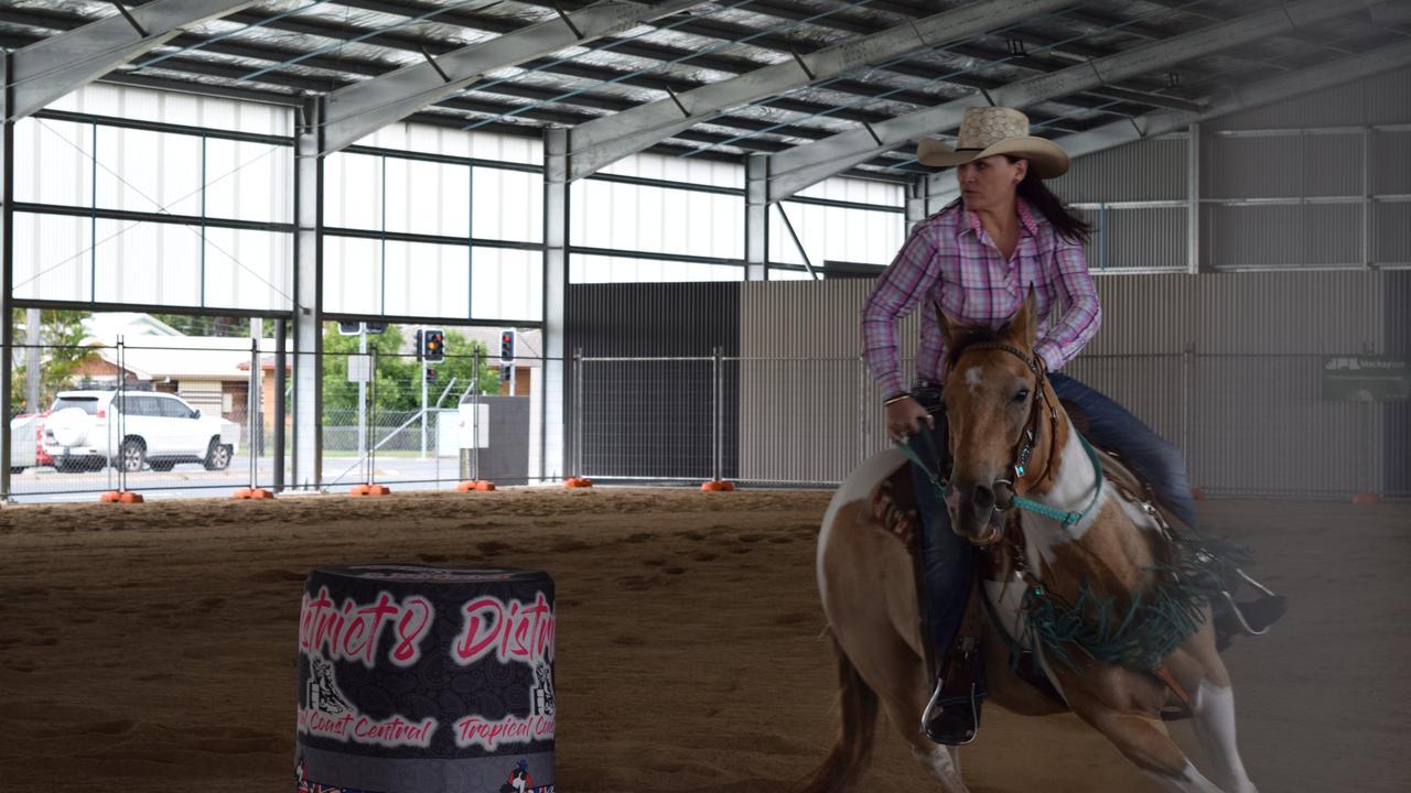 Melissa Milton competes in Open Barrels