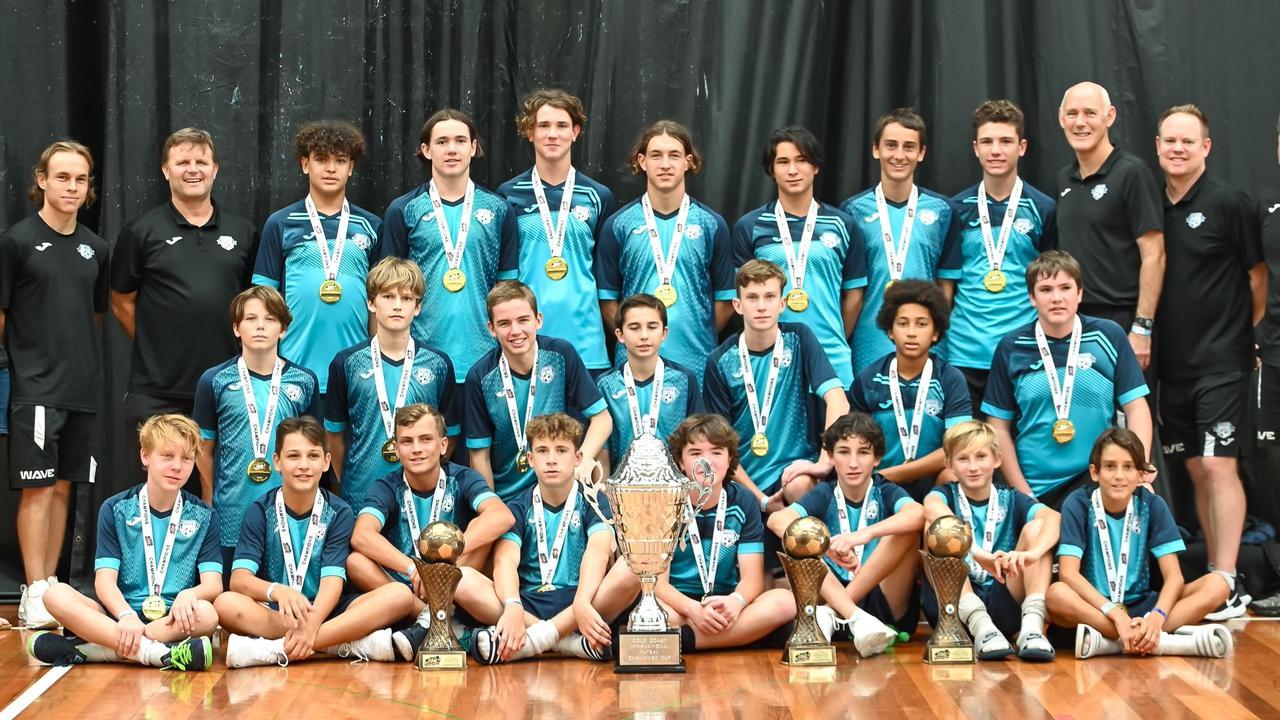 Sunshine Coast Wave 14 boys team named champions at the Gold Coast International Cup futsal tournament.