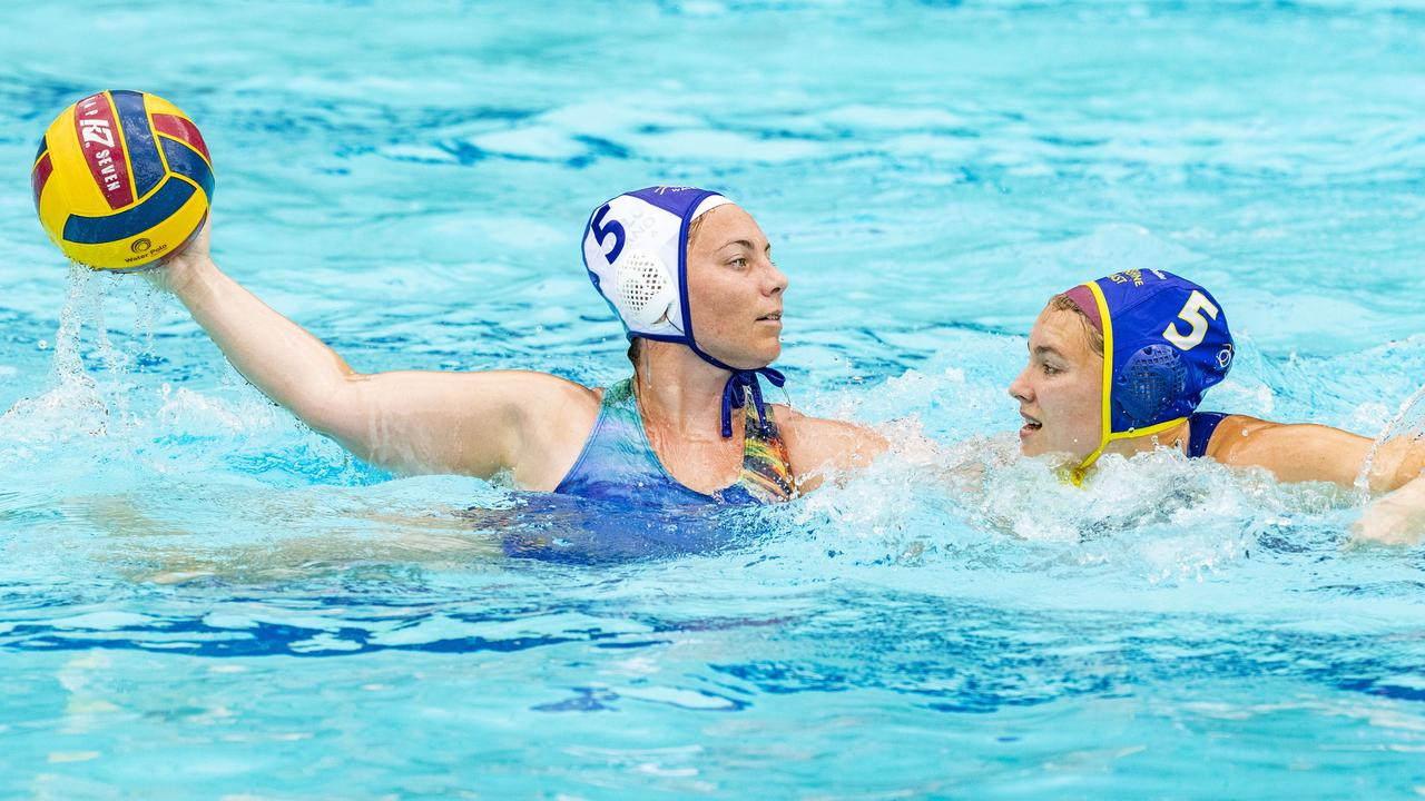 Gemma Harangozo and Matilda Sweeney in the Queensland Premier League Water Polo match between Sunshine Coast and Gold Coast in October. Picture: Richard Walker