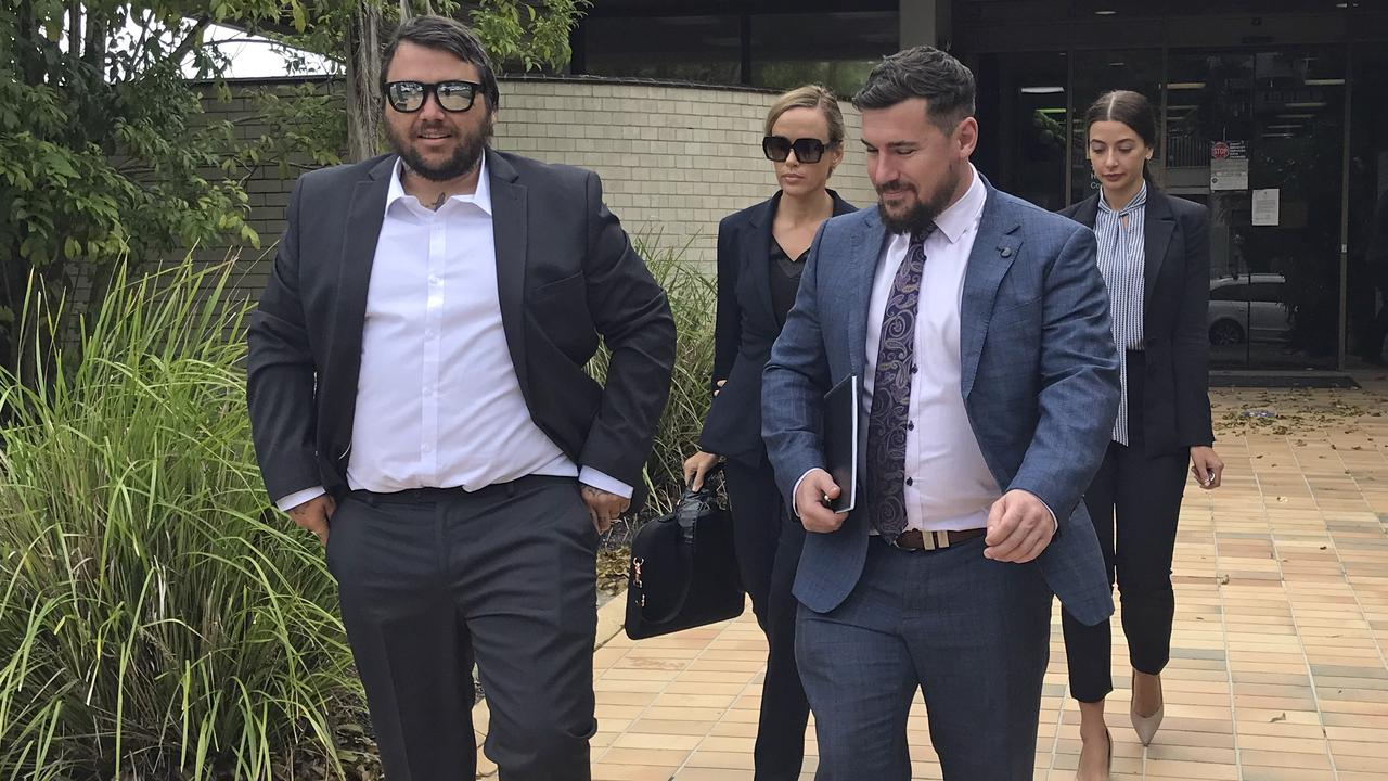 Willem Ungermann, better known as Willem Powerfish to his fans, leaving Tweed Heads Local Court with defence lawyer Corey Cullen. Picture: Jodie Callcott.