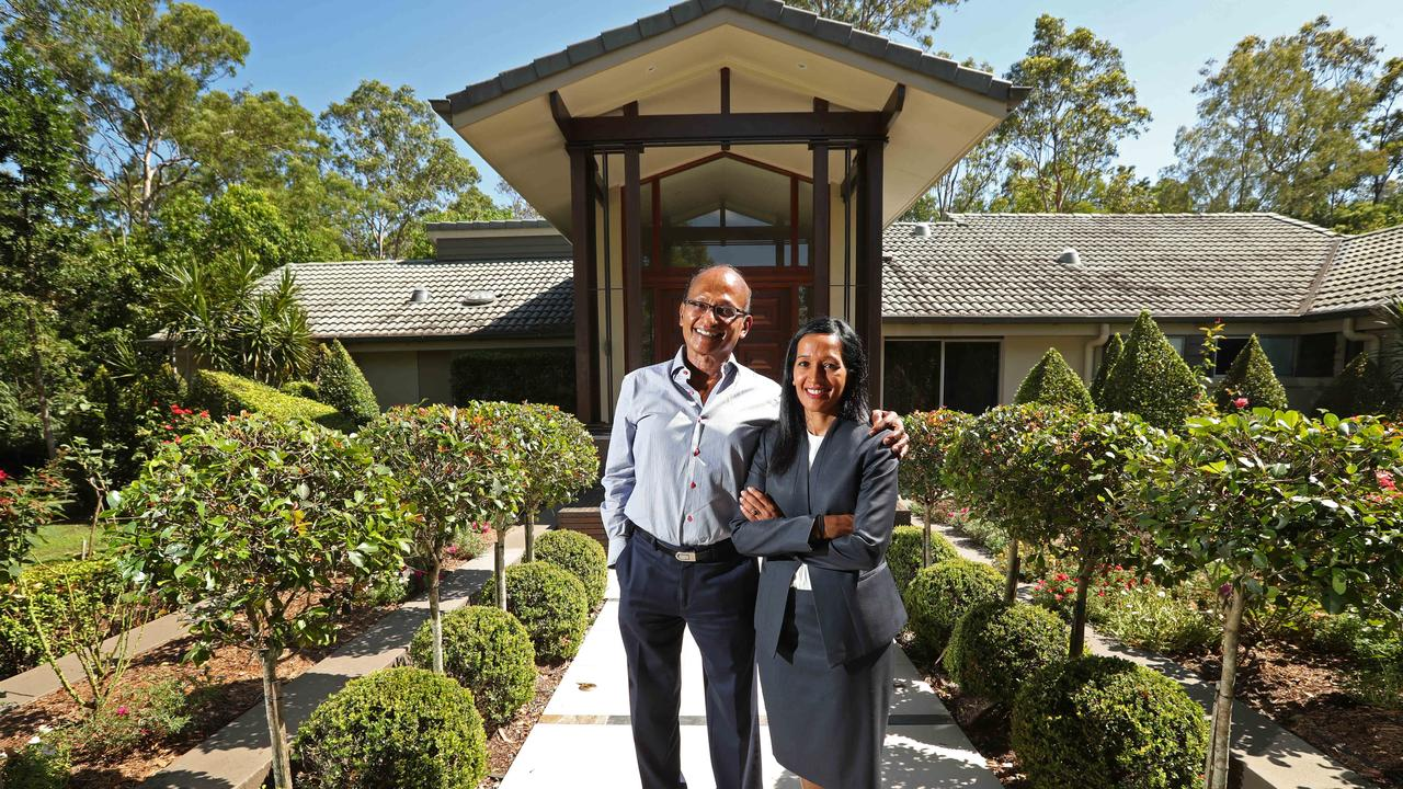 Maha Sinnathamby and his daughter Raynuha at the family home in Chapel Hill. Picture: Lyndon Mechielsen/The Australian