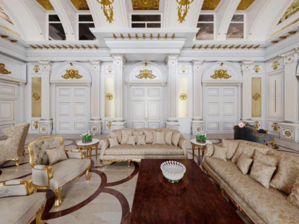 Artist's impression of a sitting area inside the palace. Picture: Alexei Navalny/YouTube
