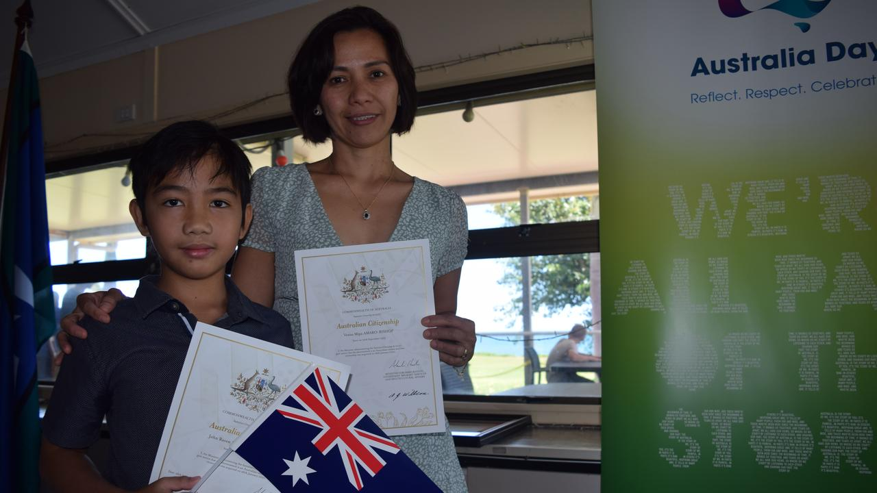 John, 10, and Venus Bishop officially became Australian citizens at the Australia Day Citizenship Ceremony in Bowen. Photo: Elyse Wurm